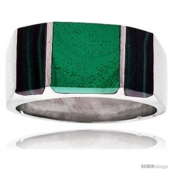 Gent's Sterling Silver Striped Malachite Ring
