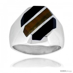 Gent's Sterling Silver Black Obsidian with Tiger Eye Ring
