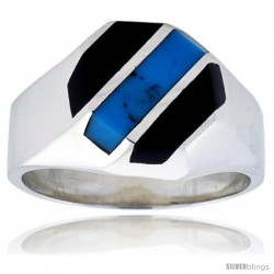 Gent's Sterling Silver Black Obsidian with Synthetic Turquoise Ring