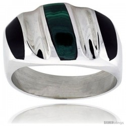 Gent's Sterling Silver Black Obsidian with Malachite Ring -Style Xrs464