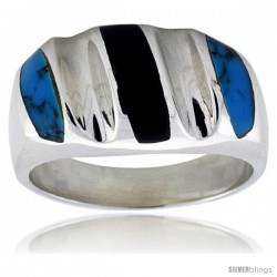 Gent's Sterling Silver Black Obsidian with Synthetic Turquoise Ring -Style Xrs466
