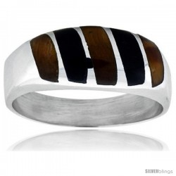 Gent's Sterling Silver Black Obsidian with Tiger Eye Ring -Style Xrs468