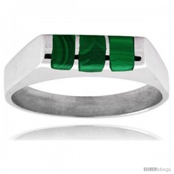 Sterling Silver Striped Malachite Ring
