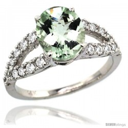 14k White Gold Natural Green Amethyst Ring 10x8 mm Oval Shape Diamond Accent, 3/8inch wide