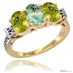 10K Yellow Gold Natural Green Amethyst & Lemon Quartz Sides Ring 3-Stone Oval 7x5 mm Diamond Accent