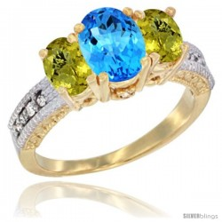 10K Yellow Gold Ladies Oval Natural Swiss Blue Topaz 3-Stone Ring with Lemon Quartz Sides Diamond Accent