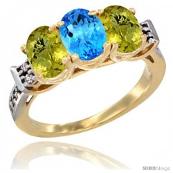 10K Yellow Gold Natural Swiss Blue Topaz & Lemon Quartz Sides Ring 3-Stone Oval 7x5 mm Diamond Accent