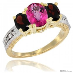 14k Yellow Gold Ladies Oval Natural Pink Topaz 3-Stone Ring with Garnet Sides Diamond Accent