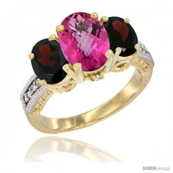 14K Yellow Gold Ladies 3-Stone Oval Natural Pink Topaz Ring with Garnet Sides Diamond Accent