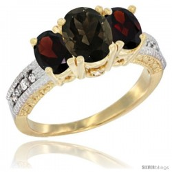 14k Yellow Gold Ladies Oval Natural Smoky Topaz 3-Stone Ring with Garnet Sides Diamond Accent