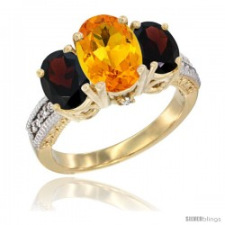 14K Yellow Gold Ladies 3-Stone Oval Natural Citrine Ring with Garnet Sides Diamond Accent
