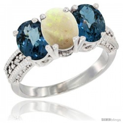 14K White Gold Natural Opal & London Blue Topaz Sides Ring 3-Stone 7x5 mm Oval Diamond Accent