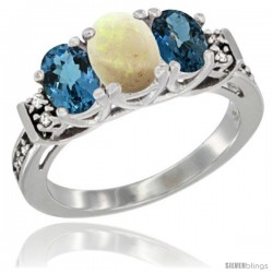 14K White Gold Natural Opal & London Blue Ring 3-Stone Oval with Diamond Accent