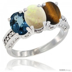 14K White Gold Natural London Blue Topaz, Opal & Tiger Eye Ring 3-Stone 7x5 mm Oval Diamond Accent