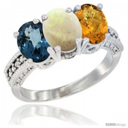 14K White Gold Natural London Blue Topaz, Opal & Whisky Quartz Ring 3-Stone 7x5 mm Oval Diamond Accent