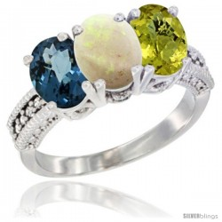 14K White Gold Natural London Blue Topaz, Opal & Lemon Quartz Ring 3-Stone 7x5 mm Oval Diamond Accent