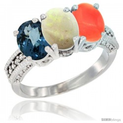 14K White Gold Natural London Blue Topaz, Opal & Coral Ring 3-Stone 7x5 mm Oval Diamond Accent