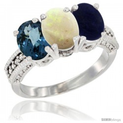 14K White Gold Natural London Blue Topaz, Opal & Lapis Ring 3-Stone 7x5 mm Oval Diamond Accent