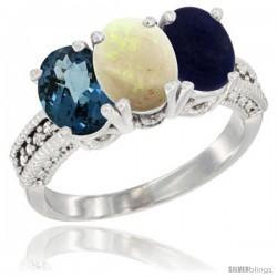 14K White Gold Natural London Blue Topaz, Opal & Lapis Ring 3-Stone 7x5 mm Oval Diamond Accent