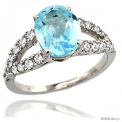 14k White Gold Sky Blue Topaz Engagement Ring 3.10 Carats Oval Cut Stone 0.35 cttw Diamonds, 3/8inch.