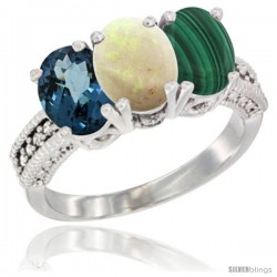 14K White Gold Natural London Blue Topaz, Opal & Malachite Ring 3-Stone 7x5 mm Oval Diamond Accent