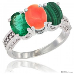 14K White Gold Natural Emerald, Coral & Malachite Ring 3-Stone 7x5 mm Oval Diamond Accent
