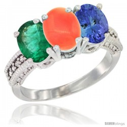 14K White Gold Natural Emerald, Coral & Tanzanite Ring 3-Stone 7x5 mm Oval Diamond Accent