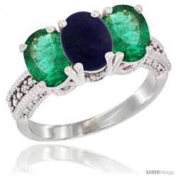 14K White Gold Natural Lapis & Emerald Sides Ring 3-Stone 7x5 mm Oval Diamond Accent