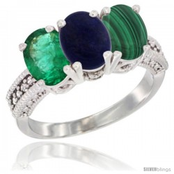 14K White Gold Natural Emerald, Lapis & Malachite Ring 3-Stone 7x5 mm Oval Diamond Accent