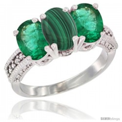 14K White Gold Natural Malachite & Emerald Sides Ring 3-Stone 7x5 mm Oval Diamond Accent