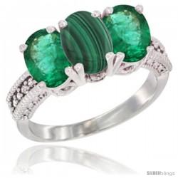 14K White Gold Natural Malachite & Emerald Sides Ring 3-Stone 7x5 mm Oval Diamond Accent
