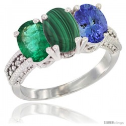 14K White Gold Natural Emerald, Malachite & Tanzanite Ring 3-Stone 7x5 mm Oval Diamond Accent