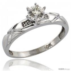 10k White Gold Diamond Engagement Ring, 1/8 in wide -Style Ljw103er