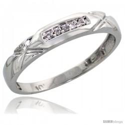 10k White Gold Ladies' Diamond Wedding Band, 1/8 in wide -Style Ljw103lb