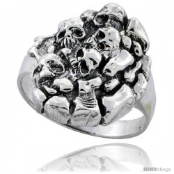 Sterling Silver Gothic Skull Yard Gothic Biker Ring 7/8 in wide