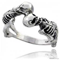 Sterling Silver 2 Skeleton Gothic Biker Ring 1/2 in wide