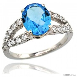 14k White Gold Natural Swiss Blue Topaz Ring 10x8 mm Oval Shape Diamond Accent, 3/8inch wide