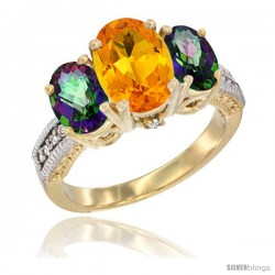 10K Yellow Gold Ladies 3-Stone Oval Natural Citrine Ring with Mystic Topaz Sides Diamond Accent