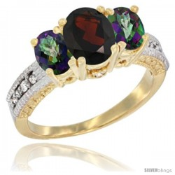 10K Yellow Gold Ladies Oval Natural Garnet 3-Stone Ring with Mystic Topaz Sides Diamond Accent