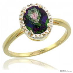 10k Yellow Gold Mystic Topaz Diamond Halo Ring 1.17 Carat 8X6 mm Oval Shape, 1/2 in wide