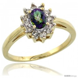 10k Yellow Gold Mystic Topaz Diamond Halo Ring Oval Shape 1.2 Carat 6X4 mm, 1/2 in wide