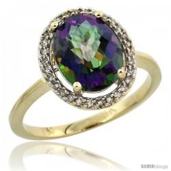 10k Yellow Gold Diamond Halo Mystic Topaz Ring 2.4 carat Oval shape 10X8 mm, 1/2 in (12.5mm) wide