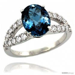 14k White Gold Natural London Blue Topaz Ring 10x8 mm Oval Shape Diamond Accent, 3/8inch wide