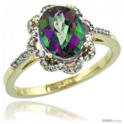 10k Yellow Gold Diamond Halo Mystic Topaz Ring 1.65 Carat Oval Shape 9X7 mm, 7/16 in (11mm) wide