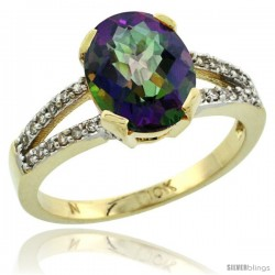 10k Yellow Gold and Diamond Halo Mystic Topaz Ring 2.4 carat Oval shape 10X8 mm, 3/8 in (10mm) wide