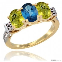 10K Yellow Gold Natural London Blue Topaz & Lemon Quartz Sides Ring 3-Stone Oval 7x5 mm Diamond Accent