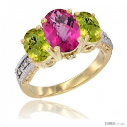 10K Yellow Gold Ladies 3-Stone Oval Natural Pink Topaz Ring with Lemon Quartz Sides Diamond Accent
