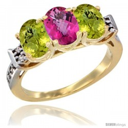 10K Yellow Gold Natural Pink Topaz & Lemon Quartz Sides Ring 3-Stone Oval 7x5 mm Diamond Accent