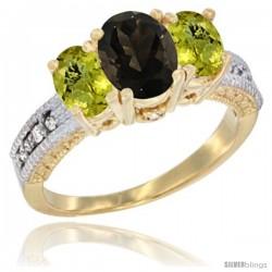 10K Yellow Gold Ladies Oval Natural Smoky Topaz 3-Stone Ring with Lemon Quartz Sides Diamond Accent