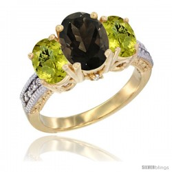 10K Yellow Gold Ladies 3-Stone Oval Natural Smoky Topaz Ring with Lemon Quartz Sides Diamond Accent